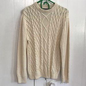 Oscar de la Renta Ivory Cotton Cable Knit Sweater
